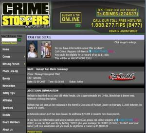 Crime Stoppers HaLeigh Cummings