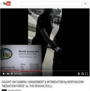 """Michelle Soustek, Northglenn Police Department, hands Curtis Kekoa a business card identifying herself as a community service officer, which is not a police department position. Soustek is wearing a NGPD uniform and tells Curtis Kekoa """"the uniform doesn't mean nything right now""""."""