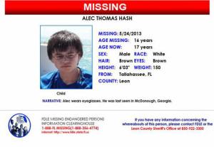 Alec Hash Missing Poster