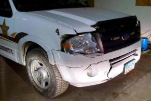 The Grand Forks Sheriff's Office SUV with a damaged bumper. The vehicle was driven by GFSO Sgt. Andy Schneider the night a police officer shot David James Elliott six times, including three times in the head, for hitting Schneider's vehicle. BCI interviews have Schneider eating dinner at the Grand Forks Air Force Base at the same time Elliott was being shot.